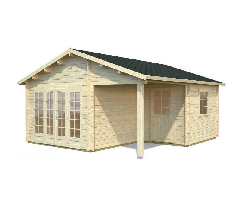 Modelo irene 21 9 m2 5 2 m2 comprar casa de madera de for Tejados de madera a dos aguas