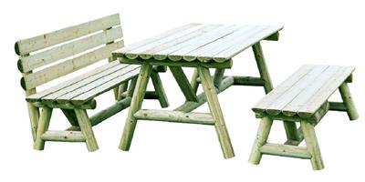 mesa de jardín con bancos